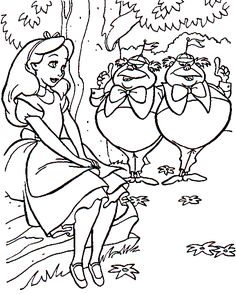 Free Alice in Wonderland coloring pages | Micky an minnie ...
