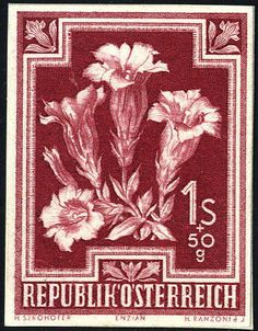 Austria 2nd. Republic 1948, Heimische flowers, 1 Shilling + 50 groat, unperforated proof on cardboard in dark carmine red, reverse archive number the Austria post...