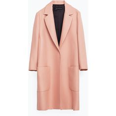 Zara Patch Pocket Coat ($169) ❤ liked on Polyvore featuring outerwear, coats, jackets, pink, pink coat, zara coat, red coat and fur-lined coats