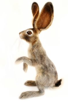Needle Felted Hare Jack Rabbit Large Soft by YvonnesWorkshop