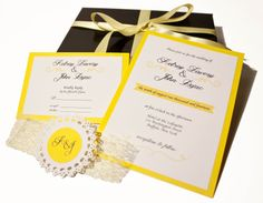 5 layer musical invitation for a yellow and white spring or summer wedding