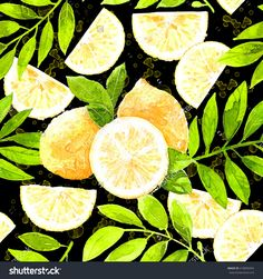Fresh Lemons Watercolor Seamless Pattern On The Black Background. Beautiful Hand Drawn Texture. Romantic Background For Web Pages, Wedding Invitations, Textile, Wallpaper.Food Design Stock Photo 418899454 : Shutterstock