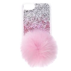 Super cute phone case is perfect for any one who loves pink! Clear soft-touch phone case has a pink and silver ombre glitter back with large pom pom tail.