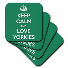 3dRose cst_163942_2 Keep Calm and Love Yorkies Green Yorkshire TerriersSoft Coasters Set of 8 >>> You can get additional details at the image link. (This is an affiliate link) #FurnitureBarCoasters