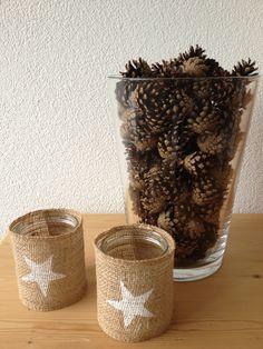 Wohnbrise: Tannzapfen, Stern Kerzenglas