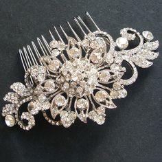 Vintage Crystal Bridal Hair Comb, Victorian Rhinestone Wedding Comb, Bridal Wedding Hair Accessory, Wedding Hair Accessories, ADELE. $82.00, via Etsy.