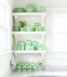 Sweet jadeite collection on nice display shelves.