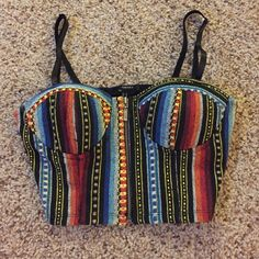 Bustier crop top Mexican style/pattern crop top. Zipper on front, worn only a few times. Has a hipster feel to it. Forever 21 Tops Crop Tops