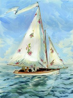 {Hey I have those same printed sheets, lol this is most definitely a Woman's Boat}....Artist Claire Fletcher