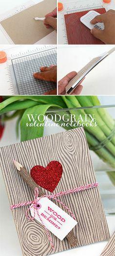 DIY Woodgrain Valentine Notebooks | Damask Love Blog