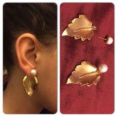 Oak leaf earring Pearl earrings Bridesmaid by UmmNiyatiJewelry