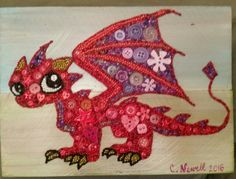 Button Art Red Dragon on Recycled Wood with Acrylic Paint Background #buttons #art #dragon