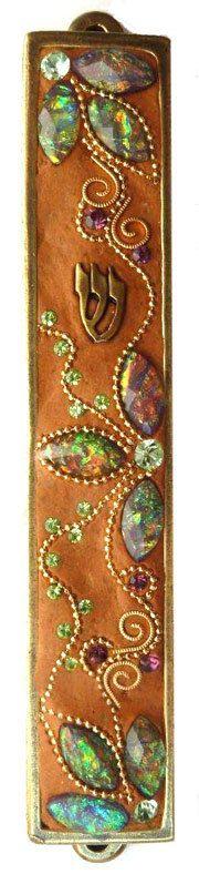 New Mezuzah Handmade Art Flower Swarovski by IrinaSmilansky, $55.99