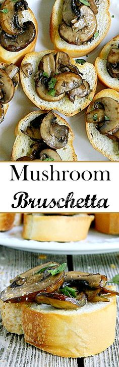 Mushroom Bruschetta - A great party appetizer that only takes a few minutes to prepare! Easy and quick, yet so delicious! by lucy Vegetarian Appetizers, Finger Food Appetizers, Yummy Appetizers, Appetizers For Party, Yummy Snacks, Appetizer Recipes, Yummy Food, Bruschetta, Crostini