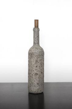 Cast concrete wine bottle