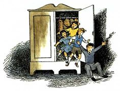 Falling out of the Wardrobe(from The Lion, the Witch and the Wardrobe)by Pauline Baynes — © C. S. Lewis Company, Ltd. - used with permission...