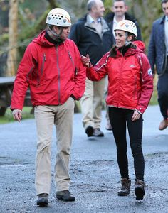 Kate Middleton Photos Photos - Prince William, Duke of Cambridge and Catherine, Duchess of Cambridge chat after abseiling at the Towers Residential Outdoor Education Centre on November 20, 2015 in Capel Curig, United Kingdom. The Towers is an outdoor education centre run by Wolverhampton Council providing adventure activities for children. - The Duke and Duchess of Cambridge Visit North Wales