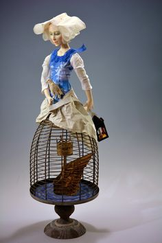 blue - woman with bird and birdcage - Untaken Voyage - doll - Karin Otto-Burfict - National Institute of American Doll Artists Found Object Art, Found Art, Half Dolls, Arte Popular, Creepy Dolls, Assemblage Art, Doll Maker, Mannequins, Sculpture Art