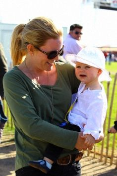 Autumn Phillips with daughter Isla Elizabeth Phillips watched Zara Phillips competing at Badminton Horse Trials, Gloucestershire