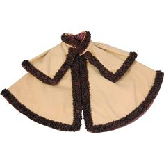 Old doll cape camel wool with brown silk looped braid trim from cybermogul on Ruby Lane