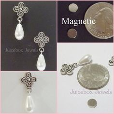 Magnetic Earrings White Faux Pearl By Juiceboxjewels On Etsy Fashion