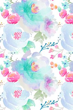 Floral Blues by indybloomdesign - Hand painted watercolor floral in pink, teal, and lavender on fabric, wallpaper, and gift wrap.  Beautiful whimsical hand painted watercolor flowers perfect for a floral themed wedding! #floral #wedding #handpaintedfower #watercolor #watercolorfloral #flower #design #artist #handpainted