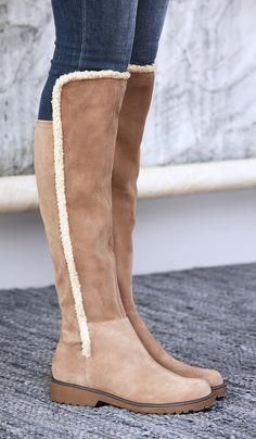 Taupe suede tall boots with shearling trim and a stretchy back panel  699732e09f9