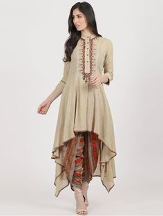 Beige-Rust Cotton Slub Kurta with Dhoti Pants (Set of Pakistani Dresses Casual, Indian Fashion Dresses, Dress Indian Style, Pakistani Dress Design, Indian Designer Outfits, Indian Outfits, Kurta Designs Women, Salwar Designs, Blouse Designs