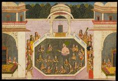 Style: Rajasthani; Type: Portraiture, court life, and mythological scenes - Scenes of court life; Title: 'Maharaja Vijai Singh bathes with his ladies', Jodhpur, c. 1760