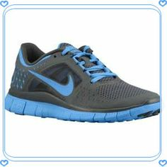 Nike Free Run + 3 - Women's - Running - Shoes - Dark Grey/University Blue - I want these sneakers so badly! Free Running Shoes, Nike Free Shoes, Running Women, Nike Shoes, Sneakers Nike, Nike Running, Nike Free 3.0, Tiffany Blue Nikes, Nike Free Runners