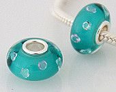 Cyan Diamonds   Will fit on Pandora & Trollbead Bracelets