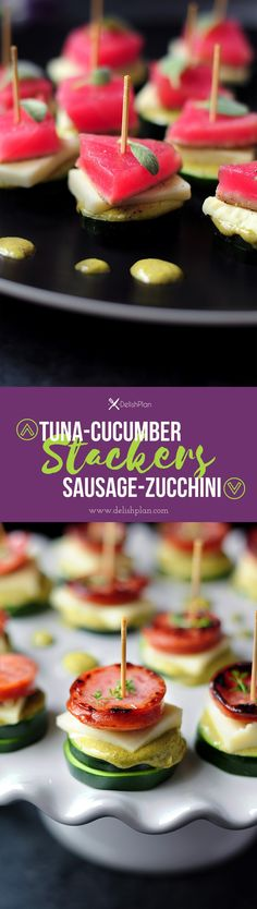 Tuna-cucumber stackers and sausage-zucchini stackers with the same sauce and cheese to please both seafood lovers and meat lovers in your family.