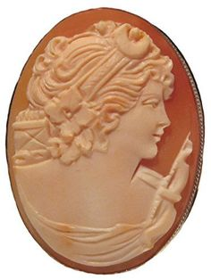 Cameo Pin Pendant Goddess Diana Master Carved, Carnelian Conch Shell Sterling Silver Italian *** Be sure to check out this awesome product.