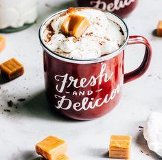 Salted Caramel Hot Chocolate #recipe via The Whole Bite http://www.yummly.com/recipe/Salted-Caramel-Hot-Chocolate-1906247