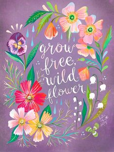 'Purple Grow Free, Wildflower' by Katie Daisy Textual Art on Wrapped Canvas