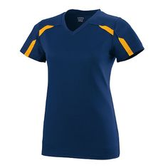 LADIES AVAIL JERSEY 92% polyester/8% spandex wicking pinhole mesh body * 100% polyester wicking smooth knit yoke and sleeves * Odor-resistant * Wicks moisture away from the body * Ladies' fit * Pad print label * Self-fabric V-neck collar * Set-in sleeves * Contrast color inserts at chest, on sleeve and back yoke * Double-needle hemmed bottom