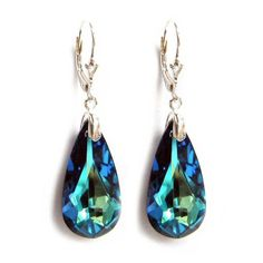 Bermuda Blue Crystal Sterling Silver Leverback Dangle Earring using Swarovski Elements