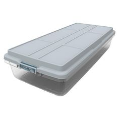 Sterilite Under Bed Storage Magnificent Sterilite® Plastic Storage Bin Clear With Blue Lid 1025Gal Inspiration Design