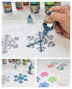 Trace designs on wax paper with puffy paint. Let dry overnight. Peel off carefully. Window clings!