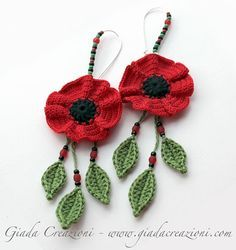 MADE TO ORDER Crochet flower earrings,poppy earrings,dangle earrings,red flower .Crochet flower earringspoppy earringsdangle by GiadaCortelliniNature and Native inspired jewelry and accessories by GiadaCortellini♥ Vibrant Fashion Blitz ♥ by Coco Crochet Jewelry Patterns, Crochet Earrings Pattern, Crochet Accessories, Crochet Necklace, Love Crochet, Beautiful Crochet, Crochet Flowers, Crochet Poppy, Crochet Gifts