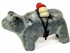 Bear carved of Stone With Beads.