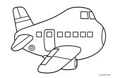 Airplane Printable Coloring Pages – Play coloring with us Coloring Sheets For Kids, Coloring Pages To Print, Free Printable Coloring Pages, Coloring Book Pages, Planes, Airplane Coloring Pages, Transportation For Kids, Airplane Kids, Kids Pages