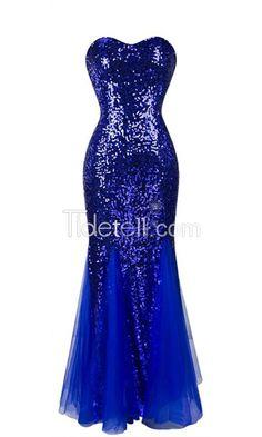 Tidetell.com Hot Sale Mermaid Tulle Sweetheart Long Prom Dresses Sequined Beaded