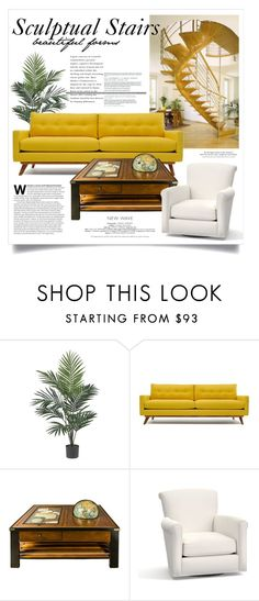 """""""Steps 2216"""" by boxthoughts ❤ liked on Polyvore featuring interior, interiors, interior design, home, home decor, interior decorating, Nearly Natural, Thrive, Authentic Models and Pottery Barn"""