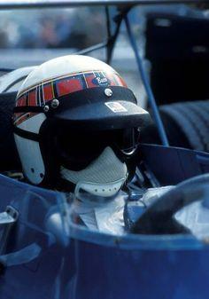 Jackie Stewart - Buco open-face helmet, early design used in Racing Helmets, F1 Racing, Football Helmets, Jackie Stewart, Vintage Helmet, Vintage Racing, Sport Cars, Race Cars, Open Face Helmets