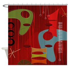 Retro 60s 1b Shower Curtain on CafePress.com