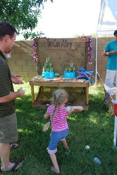county fair party ideas  ball throw, tin can alley, win tickets