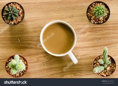 Coffee And Cactus On Wood Table Stock Photo 467470751 : Shutterstock