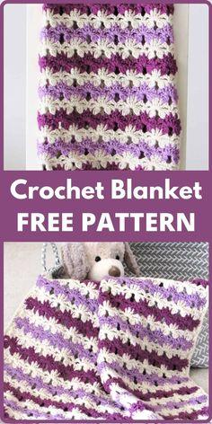 Crochet Afghans, Quick Crochet Blanket, Fast Crochet, Crochet Stitches, Crochet Baby, Crochet Blankets, Baby Blankets, Crochet Shrugs, Crochet Cushions