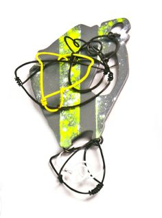"""Neon Stripe Brooch"" Copper, Steel, Brass,  Powder Coat by Laritza Garcia - http://laritzagarcia.com"
